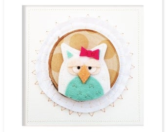 Ms. Owl Shadowbox Framed Textile and Wool Felt Art Home and Kids Room Decor