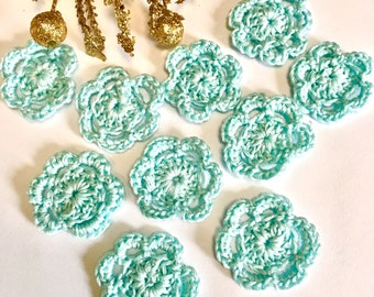 Tiny Pale Blue Crochet flowers,  Shades of Pale Flowers, Pale Blue  , Miniature Blue flowers