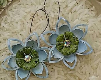 Light blue and green vintage style flowers for your ears from Wendy Baker