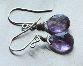Large Faceted Amethyst Briolette Earrings, February Birthstone Earrings, Amethyst Sterling Silver Earrings, Handmade Wire Wrapped Earrings