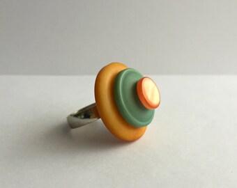 Vintage Button Ring - orange & green