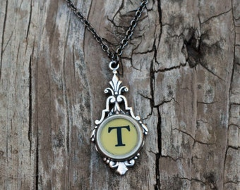Personalized Initial Necklace, Vintage Typewriter Key, Letter T, Teacher Gift
