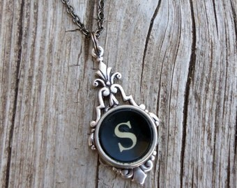 Personalized Initial Necklace, Vintage Typewriter Key, Letter S