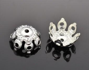 Top Quality 25pcs Silver Finish Flower Brass Bead Caps KK-B520-S