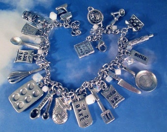 Baking Deluxe Womens Personalized Charm Bracelet Sugar Butter Mixer Food Bake Kitchen Utensil Baker Muffin Pan Whisk Measuring Spoons Mixer