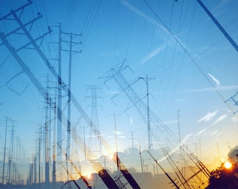 the way to the sun (two): surreal photography. industrial decor. sunrise photo. turquoise blue sky wall art. power lines. multiple exposure.