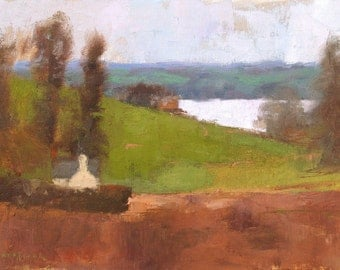 Looking Towards River Exe, landscape oil painting, direct from artist