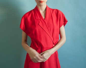 red wrap dress / dolman sleeve midi dress / s / 2063d / B13