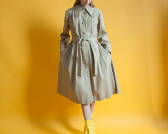 beige princess trench coat / belted flared trench jacket / s / m / 823o / R4