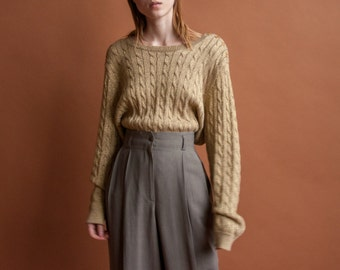 RALPH LAUREN gold metallic cable knit sweater / oversized cotton blend sweater / epaulet sweater / s / m / l / 2120t / B20