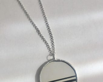 Black and Mirror clip art striped upcycled pendants by Glass Action
