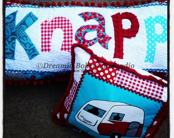 Camper Decor, Customized Pillow painted to Match your Restored Vintage Trailer, Happy Camper Gifts, Retro 50s Glamping Decoration, Turquoise