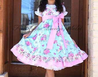 Blue pink white floral twirl dress with roses birds and butterflies, Easter ruffled dress, flower girl birthday tea party spring sundress