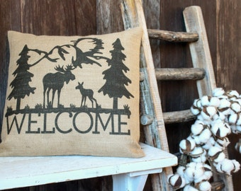 Welcome burlap pillow with Mountains and Moose