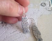 MADE TO ORDER, Sterling Owl Dangle Earrings Tribal Style Patterns