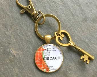 Chicago Keychain Bronze with Ring Swivel Clasp and Key Vintage Map Style A