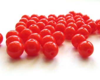 Smooth Opaque Bright Orange Round Czech Glass Druk Beads, 6mm - 50 pieces