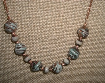 Turquoise beads and copper necklace