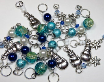 FREE With Minimum Purchase of 40 Dollars -- Stitch Marker Sampler Set -- FROSTY (Six Markers)