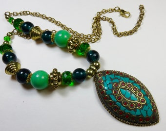 SJK Vintage -- Tibet or Nepal Beaded Bohemian Necklace With Brass Turquoise and Red Stone Chip Pendant (1970's-80's)