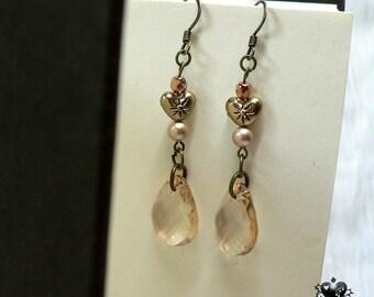 Vintage-style Sepia Crystal Teardrop Earrings