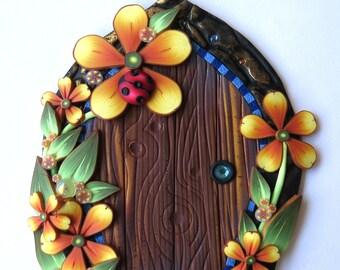 Ladybug Fairy Door Pixie Portal Polymer Clay Miniature Door for Fairy Gardens and Home by Claybykim