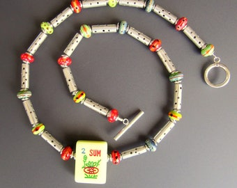 Mah Jongg Necklace OOAK with Sterling Silver Tube Beads Vintage Wind Tile and Lampworked Glass Bead Spacers Statement Necklace