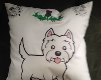 Decorative Pillow, Westie with thistles