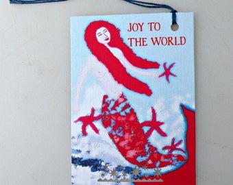 JOY To The World 8 gift tags, mermaid, star fish, holiday, christmas, new year