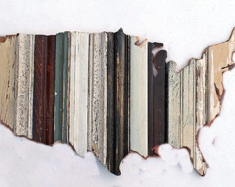 Wooden American Map, USA Wall Art, Reclaimed Wood Wall Art, Rustic America Art, Americana Decor, Architectural Salvage, US Wall Decor