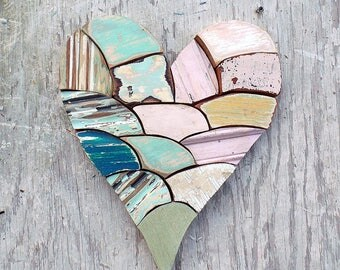 Wood Wall Heart, Wooden Heart, Reclaimed Wood Heart, Nursery Decor, Boho Room Decor, Chippy Heart. Rustic Heart, Mosaic Heart