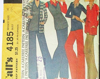 1970s Vintage Sewing Pattern McCalls 4185 Misses Jacket, Top & Pants Pattern Size 10 Bust 32 1/2