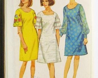 1960s Vintage Sewing Pattern Simplicity 6997 Misses One-Piece Dress Pattern Size 12 Bust 32 Uncut