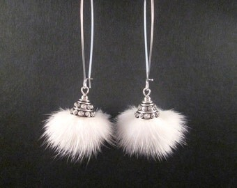 Fur Earrings, White Mink and Bali Style Rhinestone Bead Caps, Long Silver Earrings, FREE Shipping U.S.