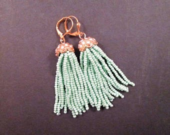 Tassel Earrings, Mint Green Glass Seed Beaded Earrings, White Rhinestone and Gold Dangle Earrings, FREE Shipping U.S.