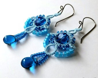 Lace earrings blue tatting with beads hypoallergenic niobium earwires