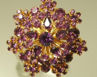 Vintage/ estate 1950s gold tone and purple paste/ glass, flower costume brooch/ pin - jewelry jewellery