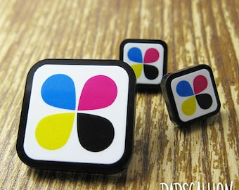 CMYK Graphic Design Earrings and Lapel Pin