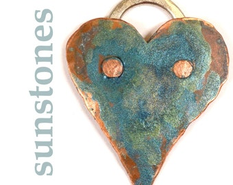 Reserve for Bonnie -Hand Forged Rustic Mixed Metal Heart Pendant Component PN386