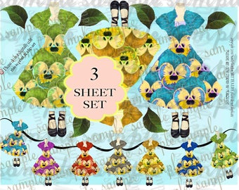 ART TEA LIFE Easter Dress Banner Garland Paper Dolls Collage 3 Sheet Set Scrapbook Journal Party Decoration Office streamer pansy fairy tags