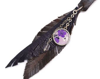 Leather Feathers Charm Necklace Boho Cluster by Shi Studio