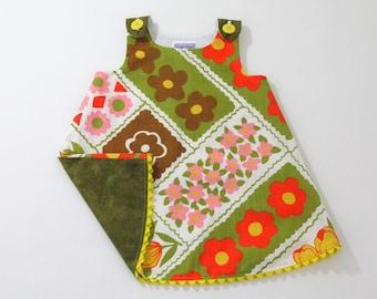 Floral Colorblock Toddler Dress, Girls Dress, Girls Pinafore, Mod Retro Dress, Daisy Dress, Flower Power Dress,  Size 18 - 24 Months