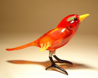 Handmade Blown Glass Art Figurine  Red Bird