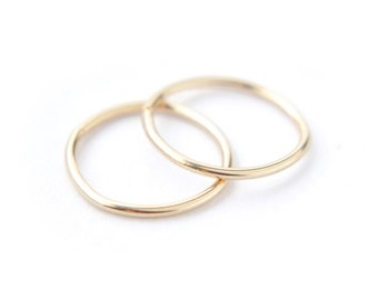 Tiny endless gold hoops - 14K Yellow Gold 9mm 10mm 11mm 12mm round sleeper hoops - simple delicate earrings - minimal jewelry -edor everyday