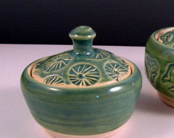 Salt Pot with Lid - Turquoise Green