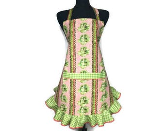 Retro Cocktail Apron for women , Cabbage and Martini Olives on Pink with a Green check ruffle , Pin Up girl Kitchen Decor / Sexy / Flirty