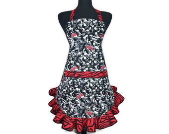 The Walking Dead / Zombie Apron  / Horror / Goth Kitchen decor with retro style ruffle / Zombie Apocalypse Frilly apron