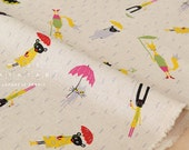 Japanese Fabric Animals in the Rain - natural - fat quarter