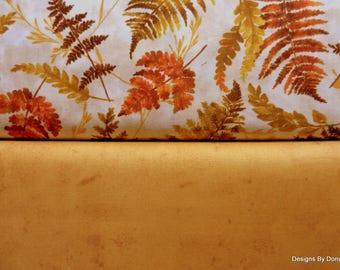 One Half Yard Bundle Fabric Bundle, Cotton Fabric, Fall Fern Leaves, Medium Tone Golden Yellow, Sewing-Quilting-Craft Supplies