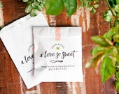 Love so Sweet - Wedding Favor Bags - Candy, Doughnut, or Cookie Bag - Love is Sweet - 20 White Wax Lined Baked Goods Favor Bags